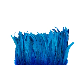"Rooster Tail Feathers, DARK TURQUOISE 8-10"" Strung Bleach Dyed Coque Tails, Wholesale Feathers Bulk ZUCKER®"