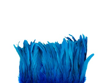 "DARK TURQUOISE 8-10"" Bulk Bleach-Dyed Rooster Coque Tail Feathers Strung by the 1/4lb For Cultural Arts, Carnival & Costume Design ZUCKER®"