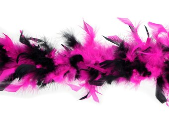 40 Gram Chandelle Feather Boa Classic BLACK & PINK Mix 2 Yards For Party Favors, Kids Craft, Dress Up, Dancing, Halloween, Costume Zucker®