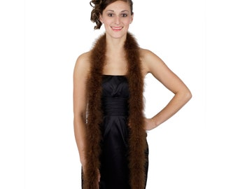 BROWN Marabou Feather Boas 6FT - For DIY Art and Crafts, Carnival, Fashion, Halloween Costume Design, Home Decor and more ZUCKER®