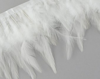 "1 Yard WHITE Dyed Saddle Feather Fringe approx 3-6"" - Fringe for Costume, Fashion & Millinery Design  ZUCKER®"