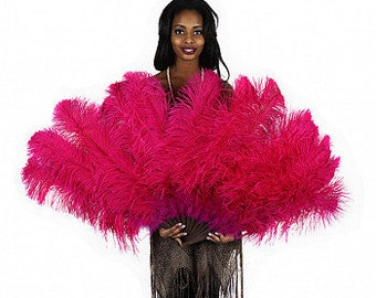 SHOCKING PINK Large Ostrich Feather Fan - For Burlesque Fan Dance, Showgirl Costume, Boudoir Photoshoots & Halloween Accessories ZUCKER®