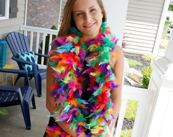 Rainbow Feather Boa - Confetti Mix Chandelle Feather Boa - PRIDE, LGBTQ, Party Favor and Photobooth Props ZUCKER®