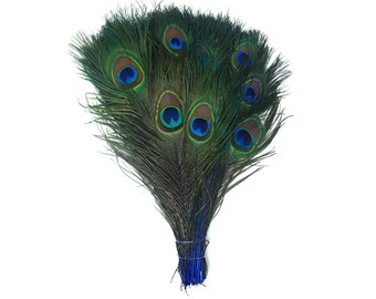 "ROYAL 100pcs Bulk 8-15"" Stem Dyed Peacock Tail Feathers - For Arts & Crafts, Floral Decor, Millinery and Jewelry Design  ZUCKER®"