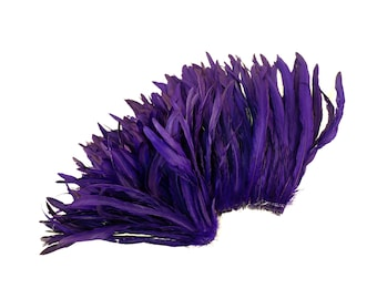 """REGAL 12-14"""" Bulk Bleach-Dyed Rooster Coque Tail Feathers Strung by the 1/4lb For Cultural Arts, Carnival & Costume Design ZUCKER®"""