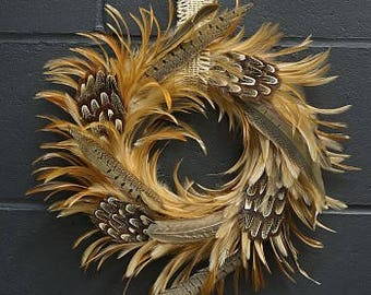 Decorative Natural Pheasant Feather Wreath - Fall Decor, Rustic Wedding Decor, Thanksgiving Decor  WRHGP16--N ZUCKER™