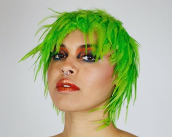 Lime Green Feather Wig, Dyed Rooster Hackle Wig, Costume Feather Wig for Halloween and Carnival, Photography Props, Costume Wigs ZUCKER®