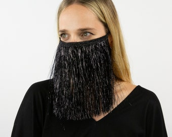 Fitted Fringe Mask, Black Lurex Tinsel Reusable Face Mask, Washable, Halloween Covid Mask, Face Mask, Face Covering ZUCKER® Limited Edition