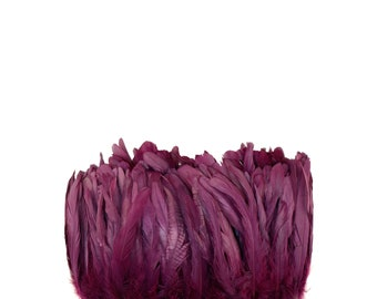 "PURPLE 8-10"" Bulk Bleach-Dyed Rooster Coque Tail Feathers Strung by the 1/4lb For Cultural Arts, Carnival & Costume Design ZUCKER®"