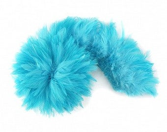 LT TURQUOISE Dyed Rooster Saddle Feathers - Strung 1 Yard for Crafts, Fashion & Costume Design ZUCKER®