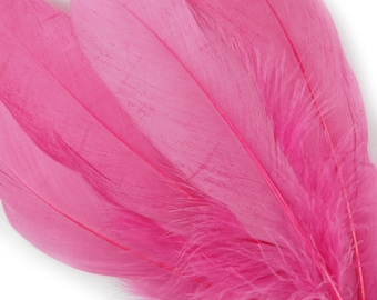 "BULK 6-8"" RASPBERRY Loose Dyed Goose Pallet Feathers -For Arts, Crafts, Dream Catcher, Millinery, Carnival, Costume & Cosplay Design ZUCKER®"