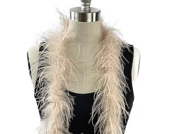 Ostrich Feather Boa, Ivory 2 Ply Value Ostrich Boa Halloween Costume, Dance and Fashion Design ZUCKER® Dyed & Sanitized in the USA