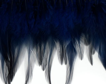 "1 Yard NAVY Dyed Saddle Feather Fringe approx 5-6"" - Fringe for Costume, Fashion & Millinery Design  ZUCKER™"