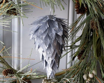 Silver Decorative Pine Cone Feather Ornament with Glitter Details Christmas Decor, Unique Holiday Decorative Ornaments ZUCKER®