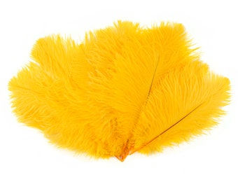 "Ostrich Feathers 9-12"" GOLD, Ostrich Drabs, Centerpiece Floral Supplies, Carnival & Costume Feathers ZUCKER®Dyed and Sanitized USA"