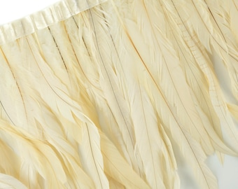 """10-12"""" BEIGE Dyed Coque Feather Fringe 1YD - DIY Art Crafts, Carnival, Cosplay, Costume, Millinery & Fashion Design Feather Fringe ZUCKER®"""