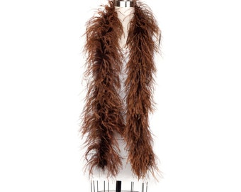 BROWN 2 Ply Ostrich Feather Boas -  Ostrich Feather Boa for Fashion, Costume Design and Special Events - 2 Yards (6 Feet) ea ZUCKER®