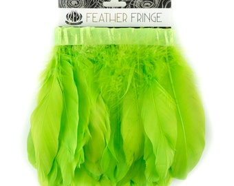 LIME 1 Yard Parried Goose Pallet Feather Fringe - For DIY Art Crafts, Carnival Costume, Cosplay, Millinery & Fashion Design ZUCKER®