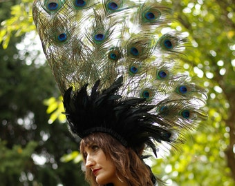 NATURAL 3 in 1 Majestic Peacock Collar, Headdress, Bustle | For Halloween, Masquerade & Costume Balls ZUCKER® Feather Place Original Designs