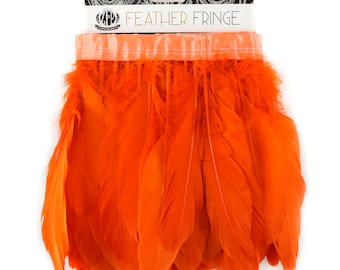 ORANGE 1 Yard Parried Goose Pallet Feather Fringe - For DIY Art Crafts, Carnival Costume, Cosplay, Millinery & Fashion Design ZUCKER®