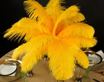 "Ostrich Feathers 13-16"" GOLD - For Feather Centerpieces, Party Decor, Millinery, Carnival, Fashion & Costume ZUCKER®"
