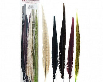 "HARVEST 14-18"" Dyed Ringneck and Golden Pheasant Tail Feathers 25pc/pkg - Assorted Colors for Millinery, Carnival and Cultural Arts ZUCKER®"