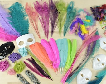 Feather Craft Kit, Small, BRIGHT Neon Feathers for Adults and Kids Crafting Projects - Feather Crafter Assortment Kit ZUCKER®