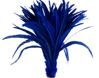 """Rooster Tail Feathers, ROYAL 16-18"""" Strung Bleach Dyed Coque Tails, Wholesale Feathers Bulk ZUCKER®"""