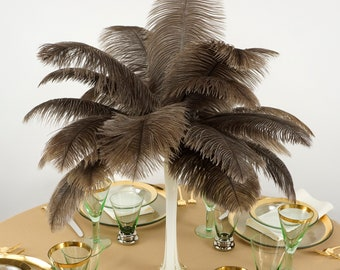 """Ostrich Feathers 13-16"""" NATURAL Undyed - For Feather Centerpieces, Party Decor, Millinery, Carnival, Fashion & Costume ZUCKER®"""