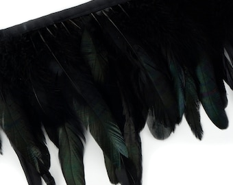 "BLACK 1 Yard Dyed over Half Bronze Iridescent Schlappen Feather Fringe approx 6-8"" - Fringe for Costume, Fashion & Millinery Design  ZUCKER®"