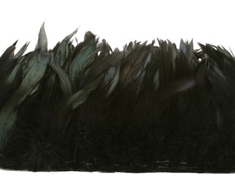 "Rooster Feathers, 4-6"" BLACK Half Bronze Schlappen Rooster Feathers, Strung Craft Feathers ZUCKER®"