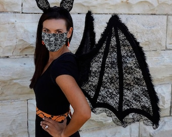 Large Black Bat Wings LED Headband & Disposable Black Lace Mask, Costume Set, For Adults Halloween, Cosplay, Costume Parties ZUCKER®