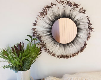 Rose Gold Mirror, Decorative Feather Wall Art, Feather Art With Brown Stripped Rooster Coque Tails Wall Decor, Feather Placemat ZUCKER®
