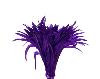 """REGAL 16-18"""" Bulk Bleach-Dyed Rooster Coque Tail Feathers Strung by the 1/4lb For Cultural Arts, Carnival & Costume Design ZUCKER®"""