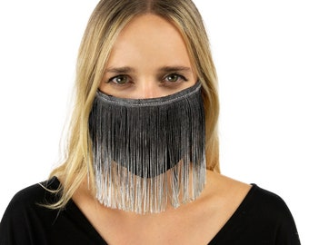 Fitted Fringe Mask, Black & Grey Ombre Fringe Reusable Face Mask, Washable, Halloween Fringe Mask, Fashion Face Mask, Face Covering ZUCKER®