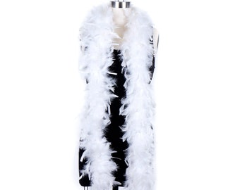 60 Gram Chandelle Feather Boa, White 2 Yards For Party Favors, Kids Craft & Dress Up, Dancing, Wedding, Halloween, Costume ZUCKER®