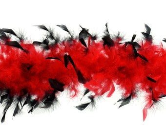 40 Gram Chandelle Feather Boa Tipped RED & BLACK 2 Yards For Party Favors, Kids Craft, Dress Up, Dancing, Halloween, Costume ZUCKER®