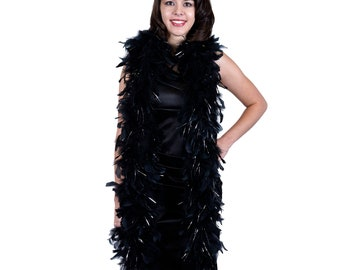 BLACK/SILVER Chandelle Feather Boas Heavy Weight w/Lurex - Perfect for Costume Parties, Halloween, Photobooth and Event Decor ZUCKER®