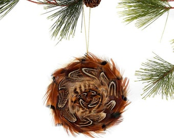 Decorative Feather Ornament Disc - Natural Pheasant - Fall Thanksgiving Decor, Unique Holiday Decorative feather ornament ZUCKER®