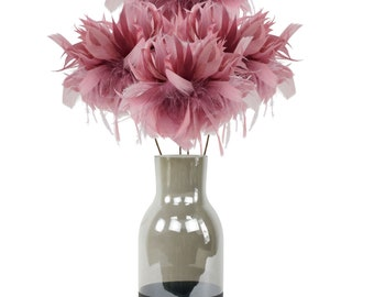 Dusty Rose Feather Flowers & Vase Set, Smoke Gray with Black Personalized LOVE Chalkboard Bottom, Feather Centerpiece w/ Glass Jug ZUCKER®