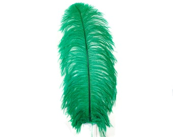 "Large Ostrich Feathers 1 Piece 17-25"" Prime Ostrich Femina Wing Plumes EMERALD Green, Wedding Centerpiece, Carnival Feathers ZUCKER® USA"