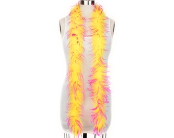 1 Ply Ostrich Feather Boa Economy YELLOW & PINK 2 Yards For Fashion, Accessory, Halloween, Costume Design, Dress Up, Dancing, Stage  ZUCKER®
