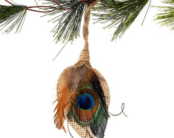 Decorative Feather Ornament - Burlap Tear Drop with Natural Feathers - Fall Thanksgiving Decor, Unique Holiday Decorative Ornament ZUCKER®