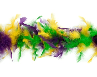 40 Gram Chandelle Feather Boa Classic MARDI GRAS Mix 2 Yards For Party Favors, Kids Craft, Dress Up, Dancing, Halloween, Costume Zucker®