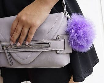 LILAC Marabou Feather Pom Pom Key Chain - Unique Party Favor, Stocking Stuffer and Gift ZUCKER®