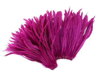 """VERY BERRY 12-14"""" Bulk Bleach-Dyed Rooster Coque Tail Feathers Strung by the 1/4lb For Cultural Arts, Carnival & Costume Design ZUCKER®"""