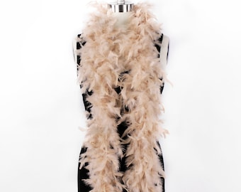 60 Gram Chandelle Feather Boa, Beige 2 Yards For Party Favors, Kids Crafting & Dress Up, Dancing, Wedding, Halloween, Costume ZUCKER®