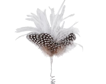 Small Decorative White and Black Feather Accent for Millinery, Boutonniere and Corsage, Jewelry Design, Decor, Arts and Craft Supply ZUCKER®