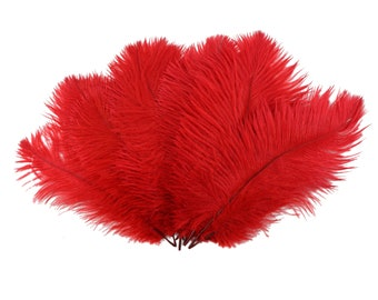 "Ostrich Feathers 9-12"" RED, Ostrich Drabs, Centerpiece Floral Supplies, Carnival & Costume Feathers ZUCKER®Dyed and Sanitized USA"