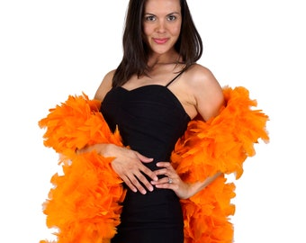 ORANGE Turkey Feather Boa - Large Economy Feather Boa for Carnival, Halloween, Costume Party, Burlesque & Showgirl Feather Boa ZUCKER®